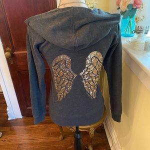 Victoria Aecrwt Sz XS Angel Wing Zip Hoodie